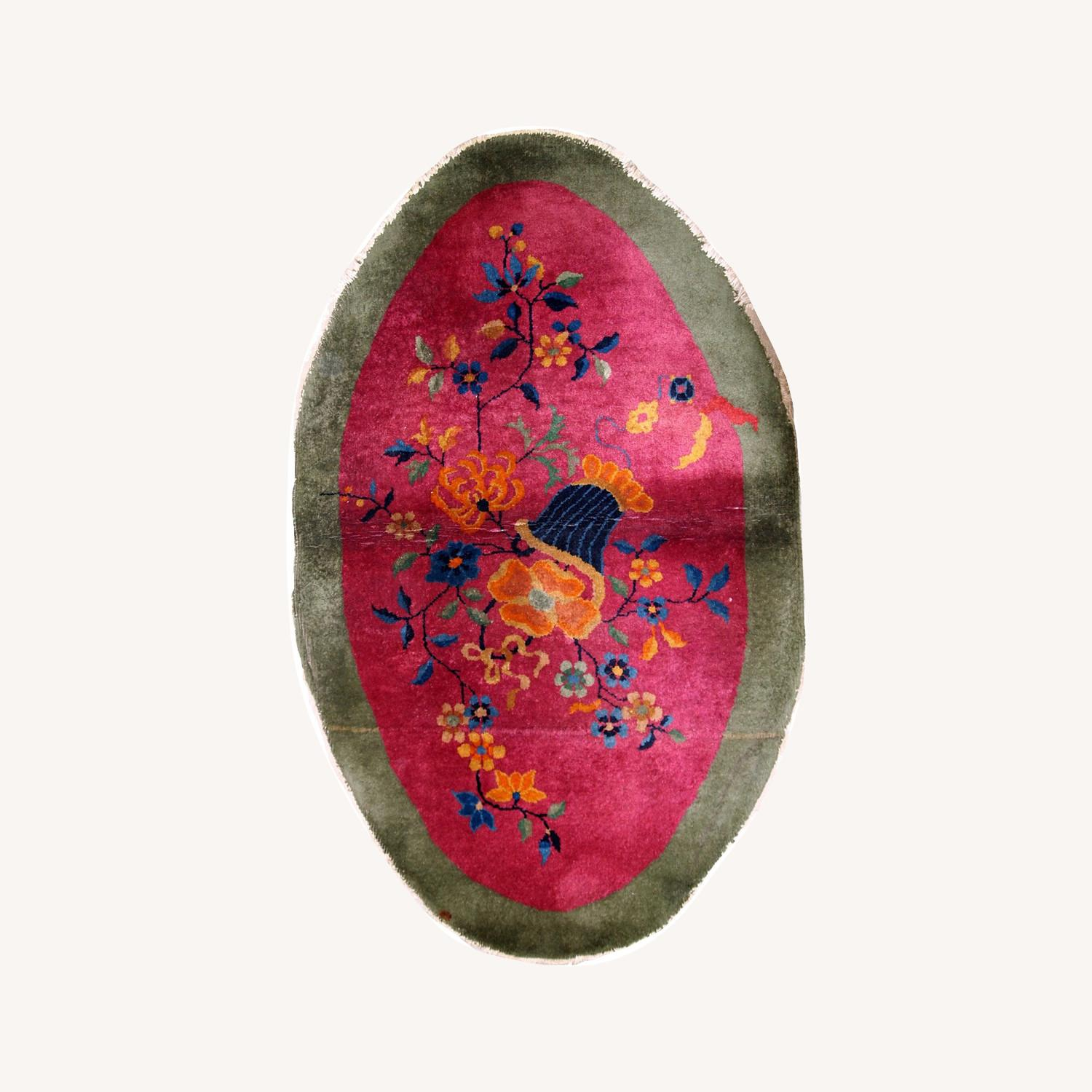 Handmade Antique Oval Art Deco Chinese Rug - image-0