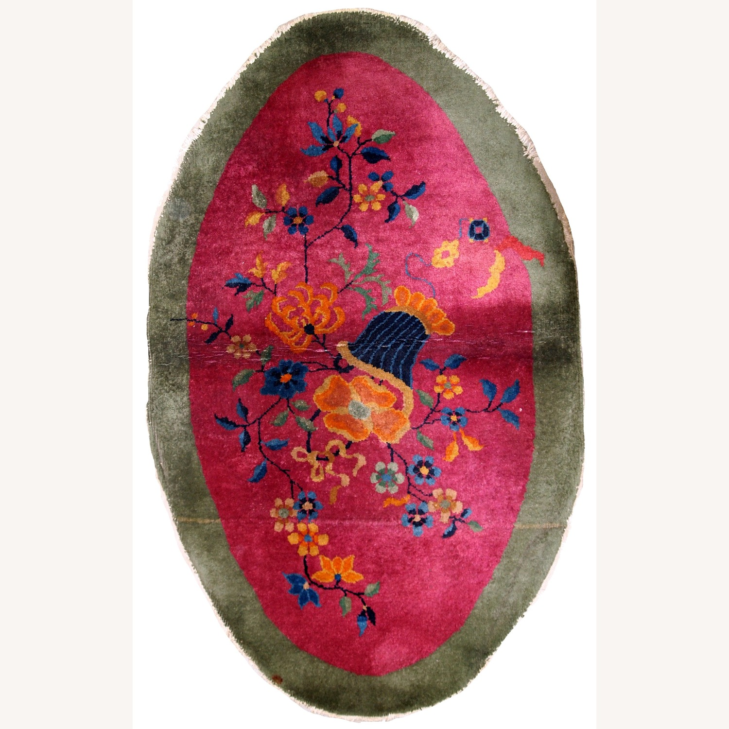 Handmade Antique Oval Art Deco Chinese Rug - image-1