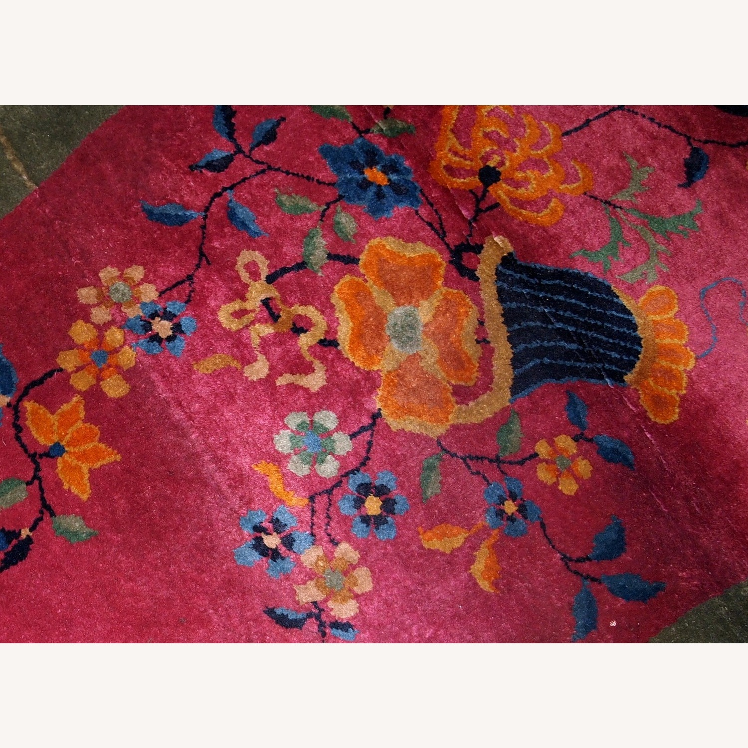 Handmade Antique Oval Art Deco Chinese Rug