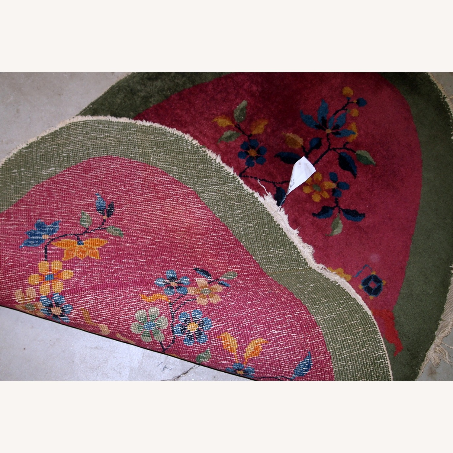 Handmade Antique Oval Art Deco Chinese Rug - image-2