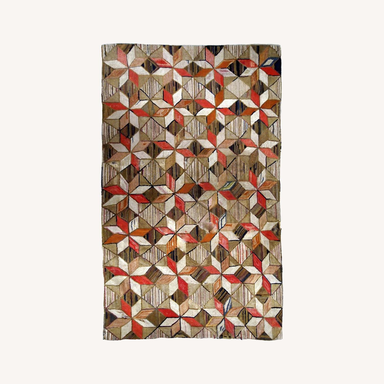 Handmade Antique American Hooked Geometric Rug - image-0