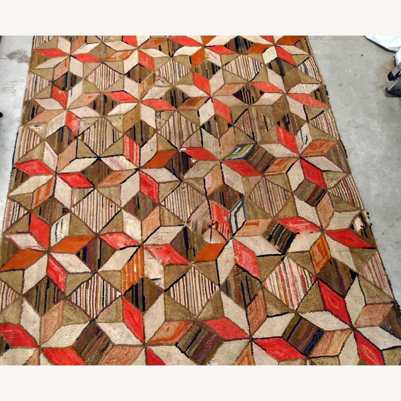 Handmade Antique American Hooked Geometric Rug - image-5