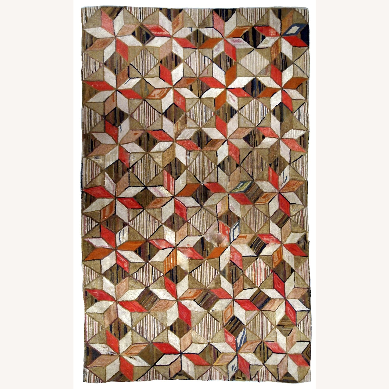 Handmade Antique American Hooked Geometric Rug - image-1
