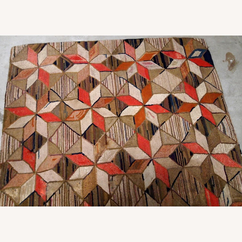 Handmade Antique American Hooked Geometric Rug - image-6