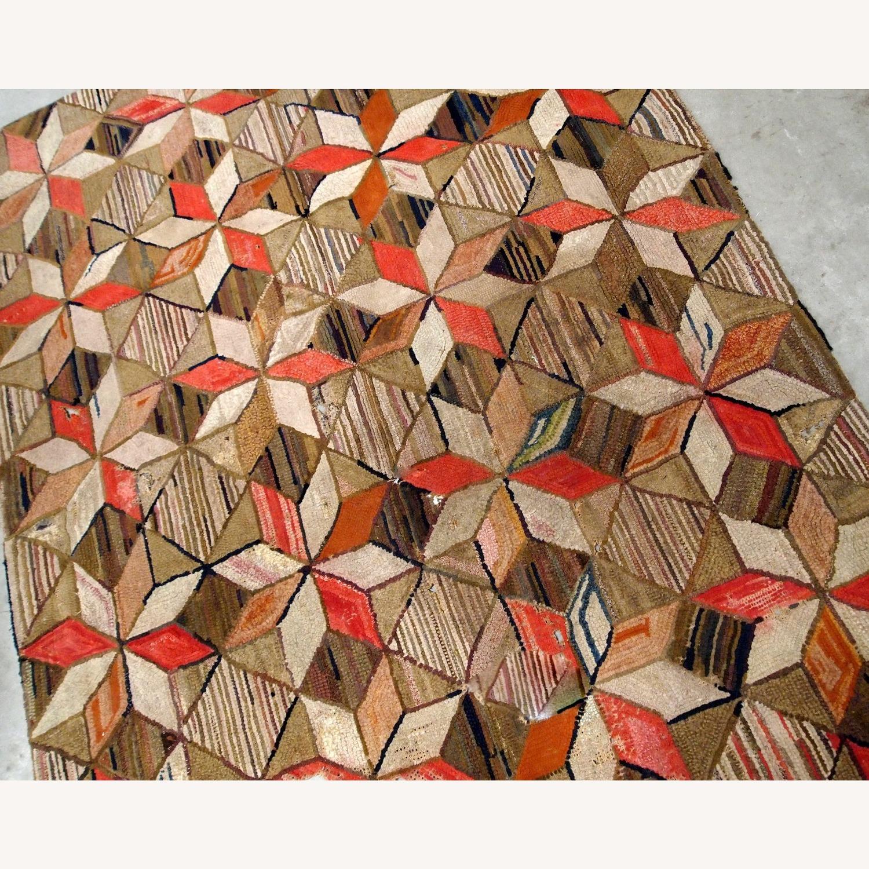 Handmade Antique American Hooked Geometric Rug - image-2