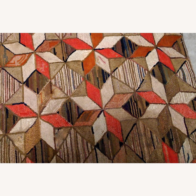 Handmade Antique American Hooked Geometric Rug - image-4