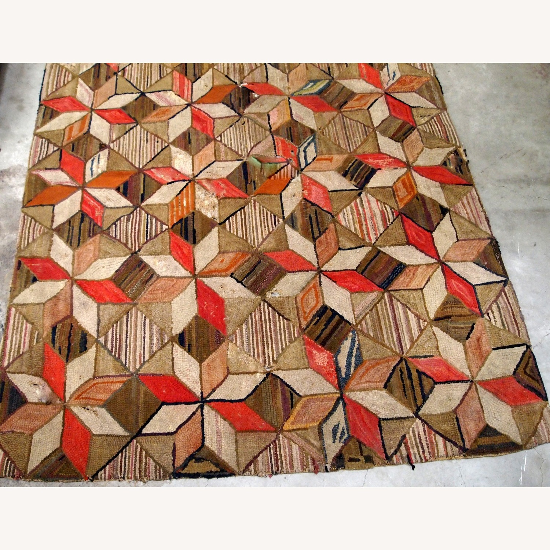 Handmade Antique American Hooked Geometric Rug - image-3