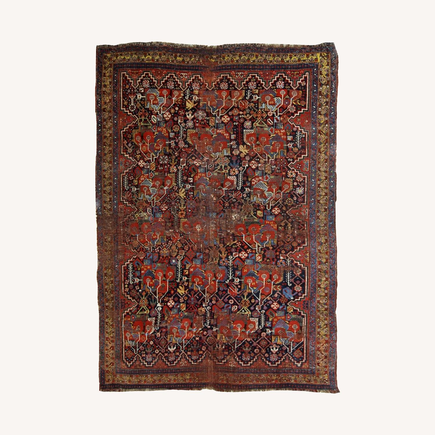 Handmade Antique Collectible Persian Khamseh Rug - image-0