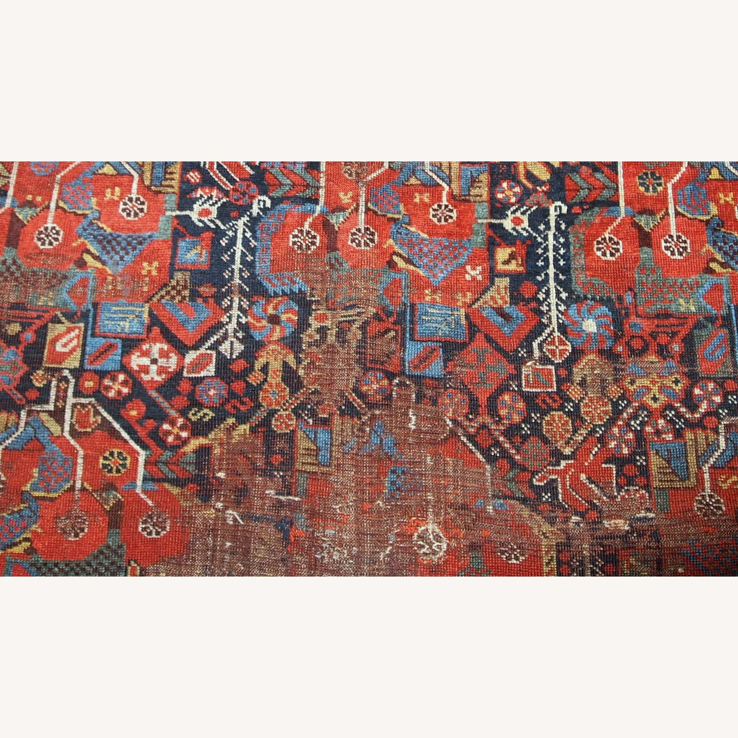 Handmade Antique Collectible Persian Khamseh Rug - image-2