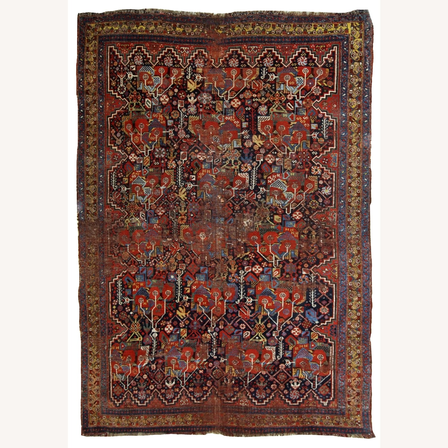 Handmade Antique Collectible Persian Khamseh Rug - image-1