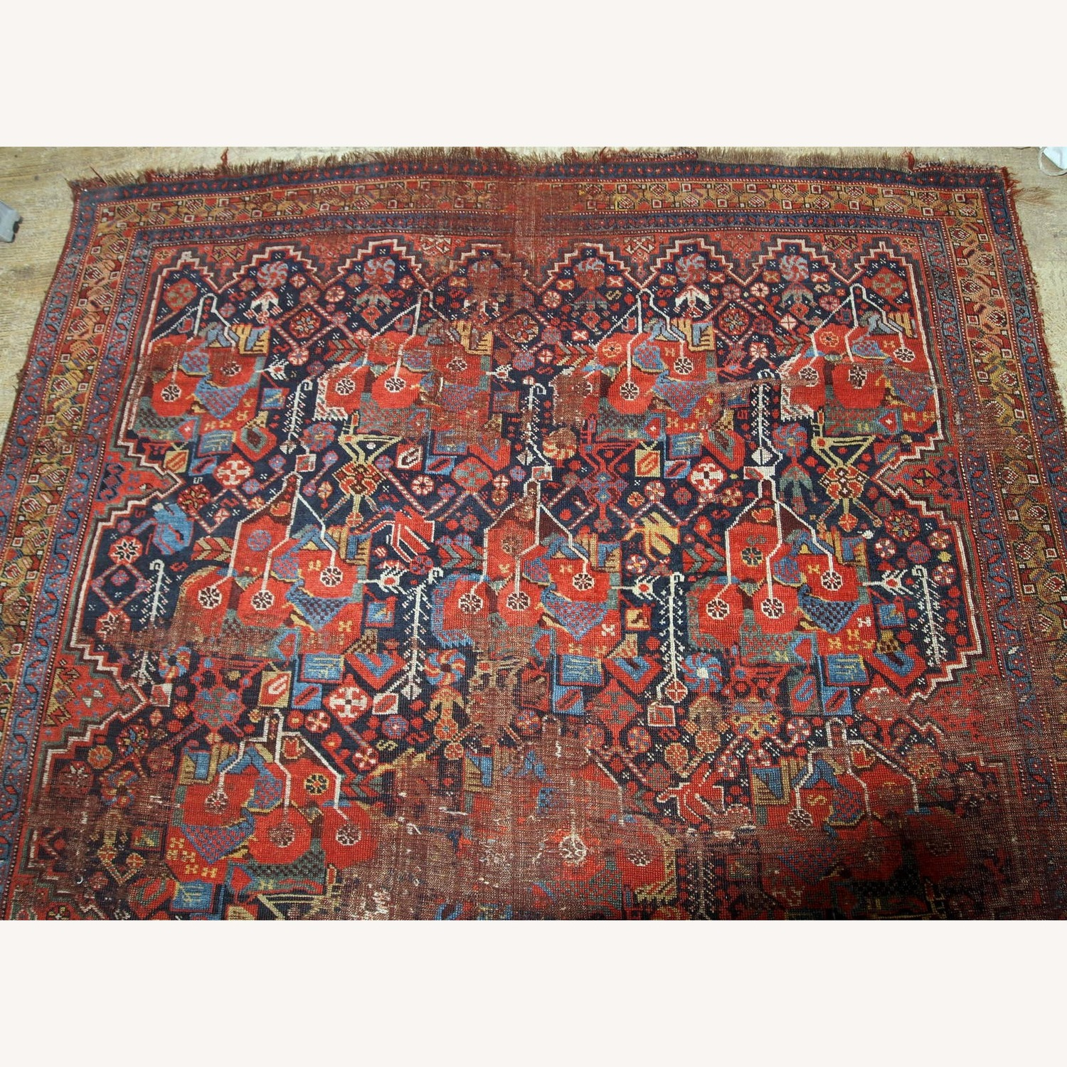 Handmade Antique Collectible Persian Khamseh Rug - image-3