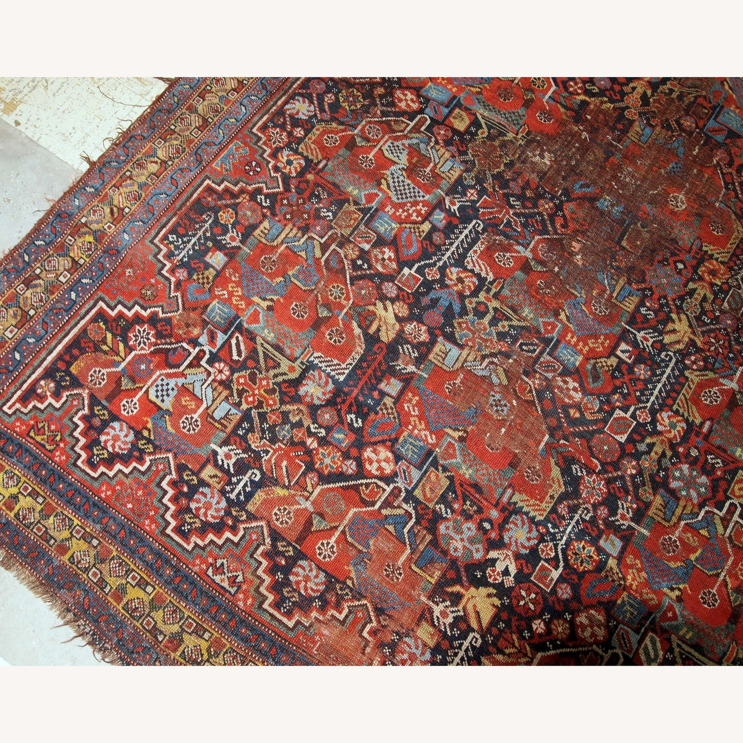Handmade Antique Collectible Persian Khamseh Rug - image-7