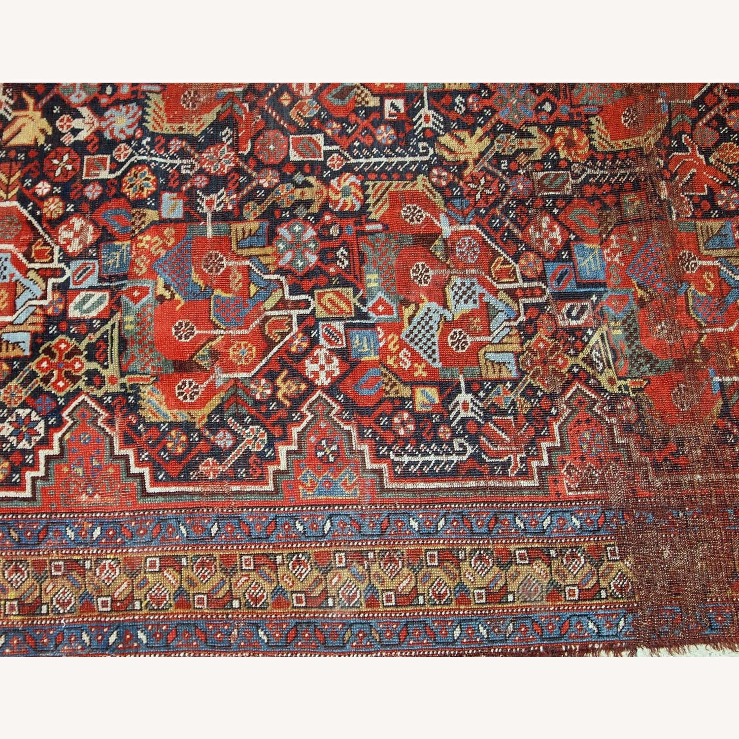 Handmade Antique Collectible Persian Khamseh Rug - image-8