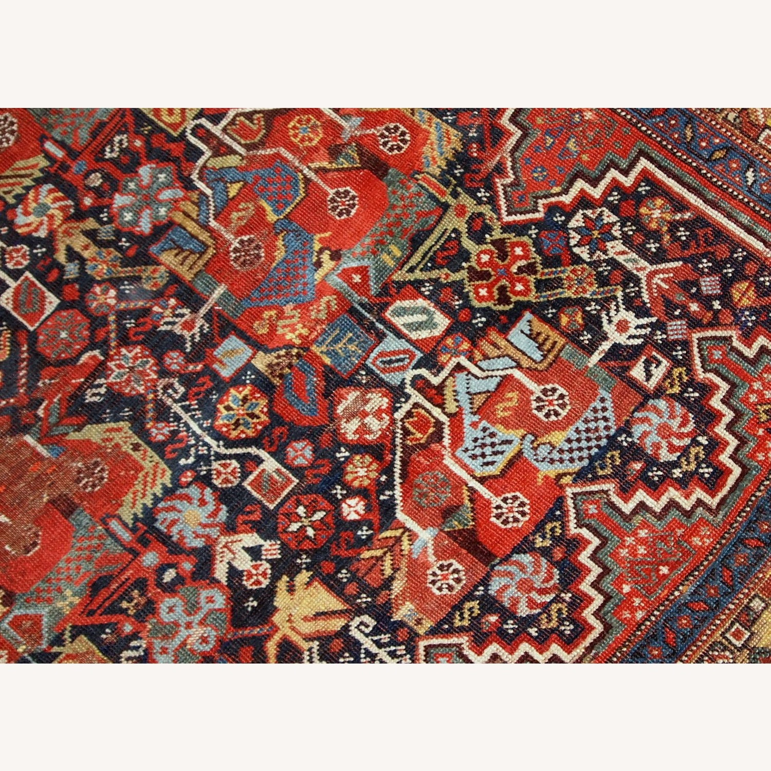 Handmade Antique Collectible Persian Khamseh Rug - image-11