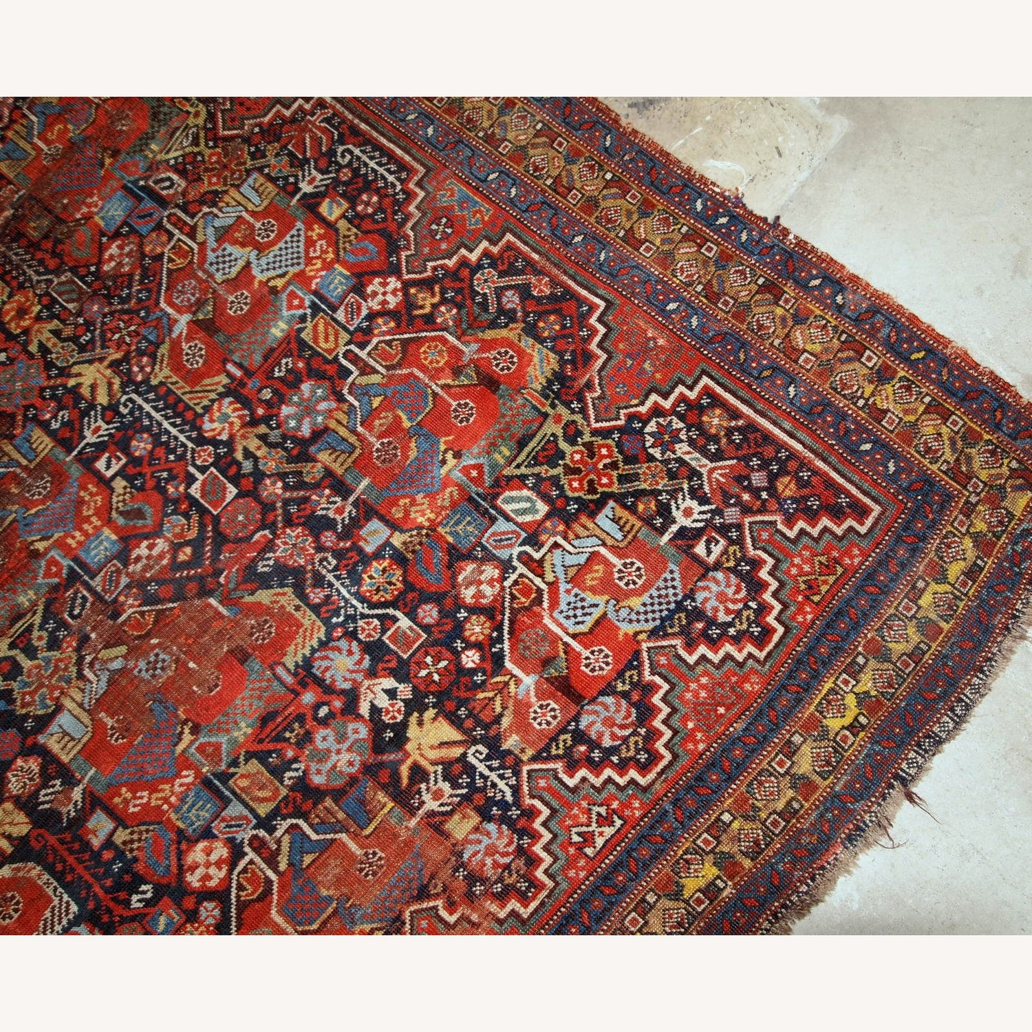 Handmade Antique Collectible Persian Khamseh Rug - image-6