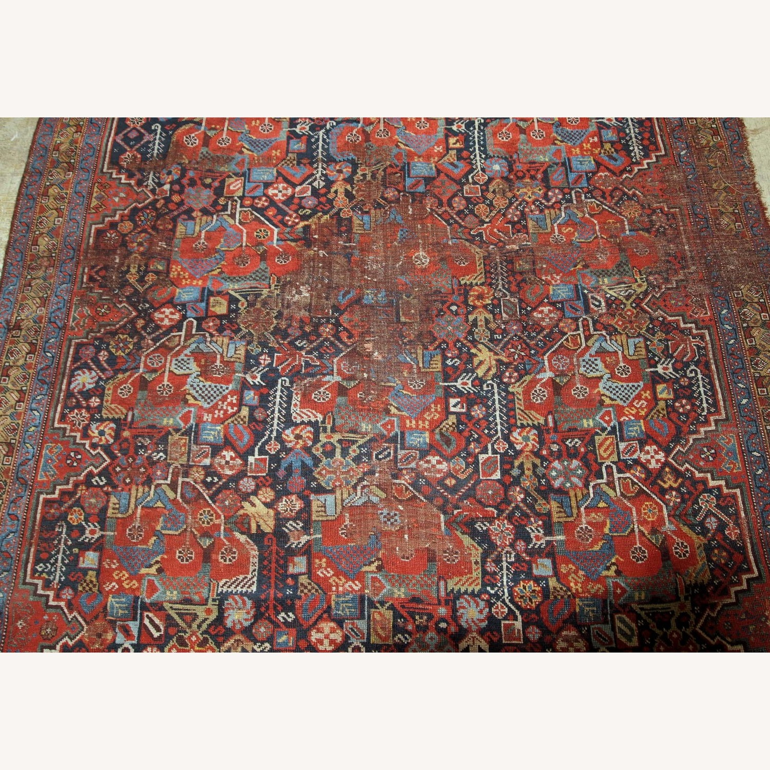 Handmade Antique Collectible Persian Khamseh Rug - image-4