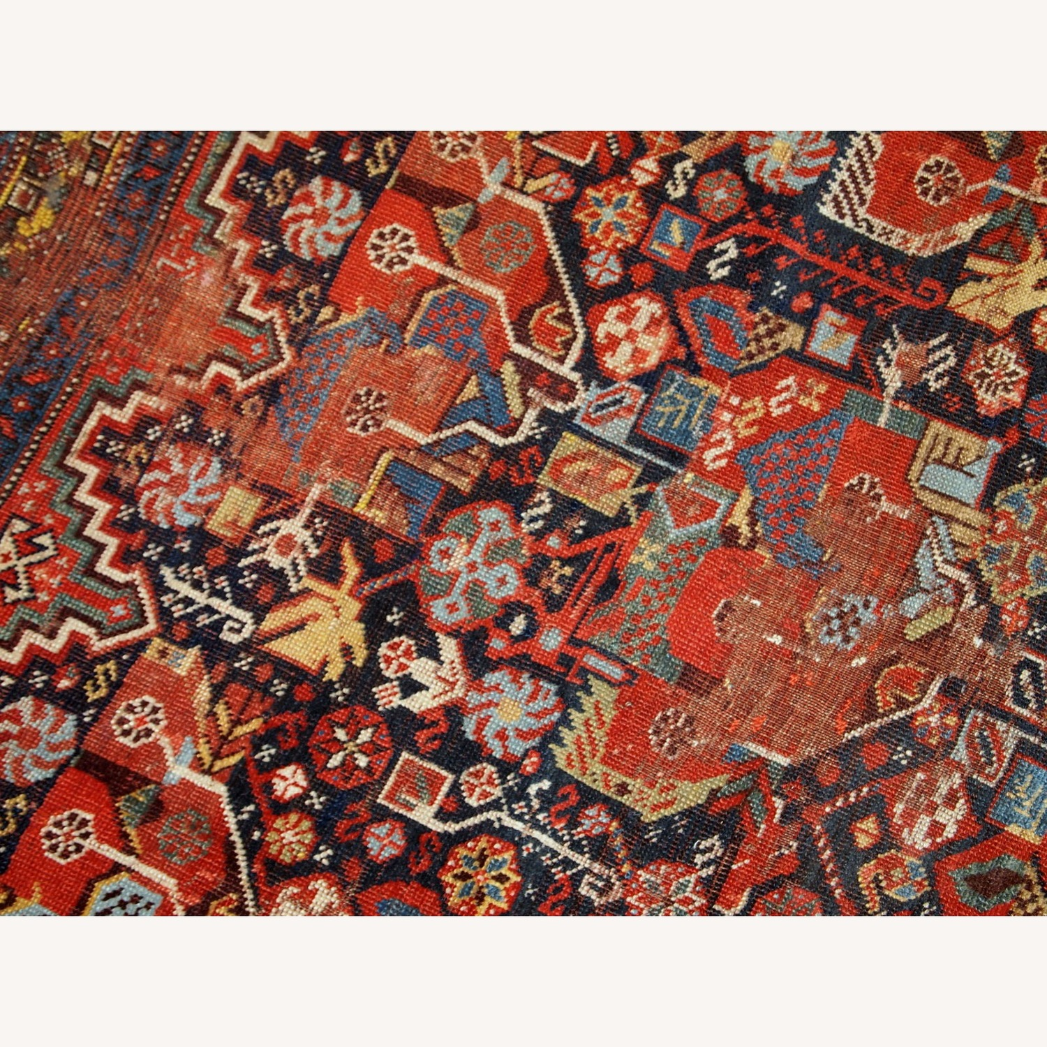 Handmade Antique Collectible Persian Khamseh Rug - image-9