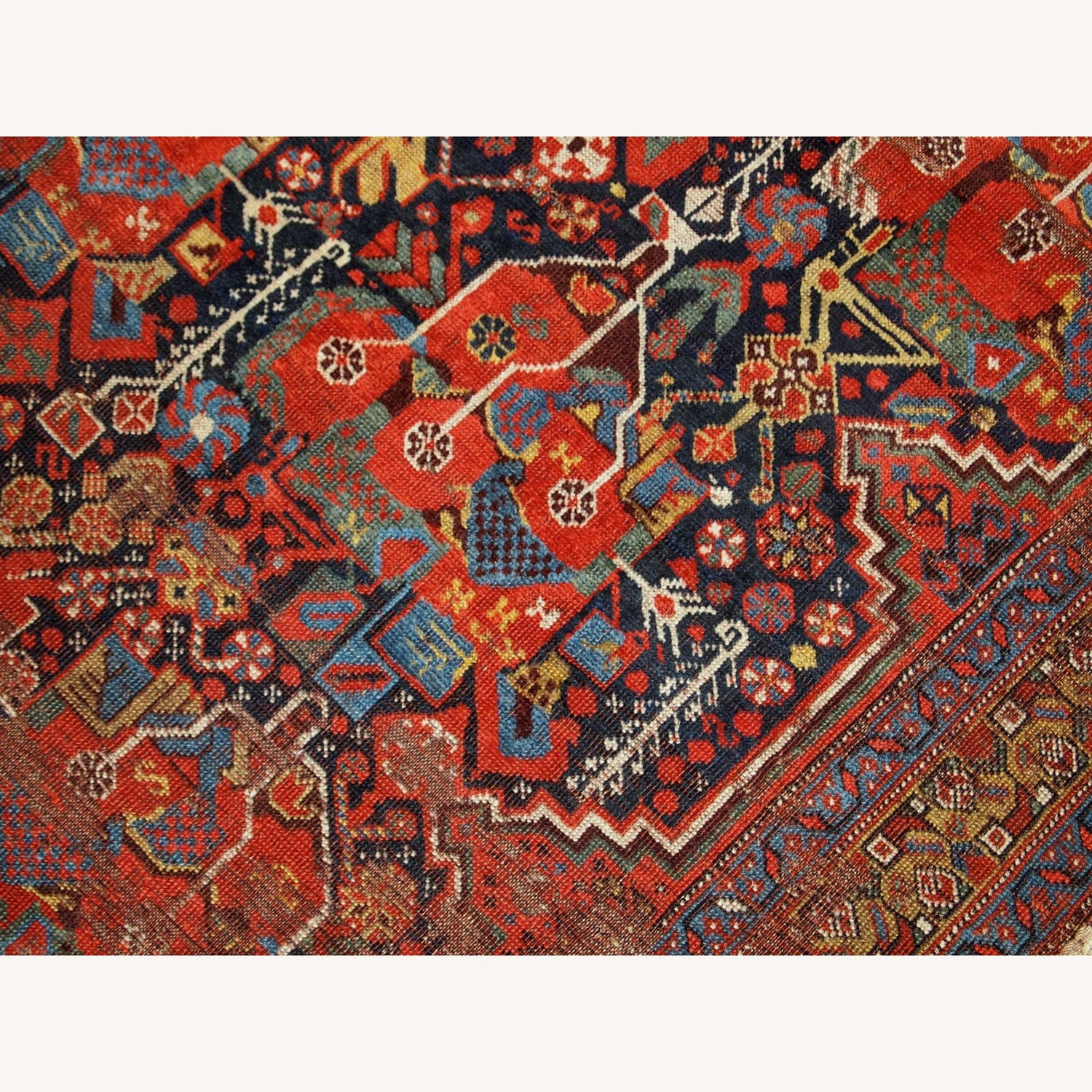 Handmade Antique Collectible Persian Khamseh Rug - image-5