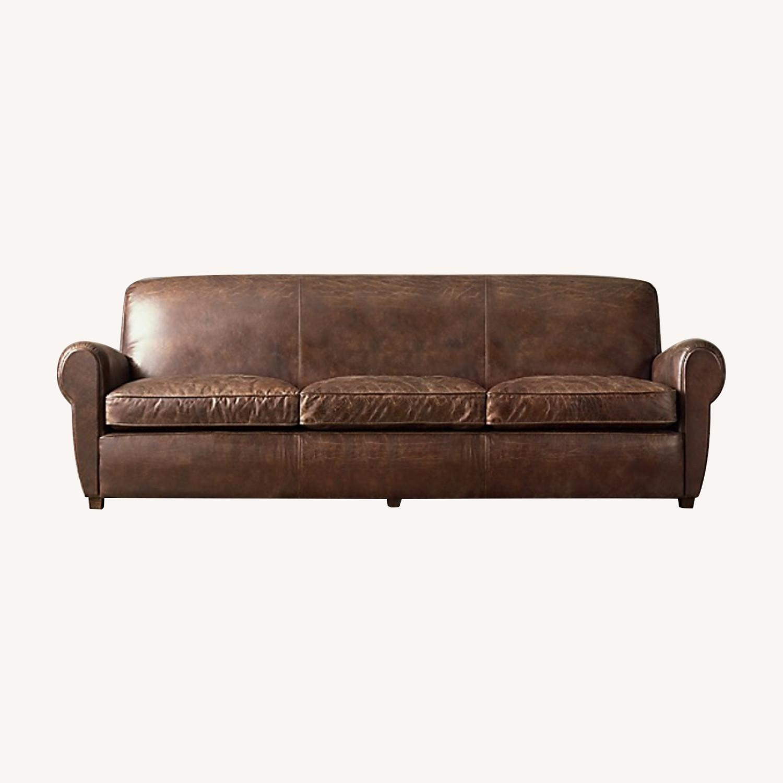 Restoration Hardware 1920S Parisian Leather Sofa - image-0