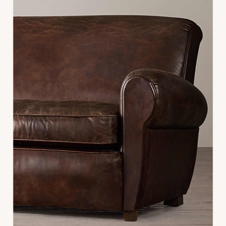 Restoration Hardware 1920S Parisian Leather Sofa - image-4