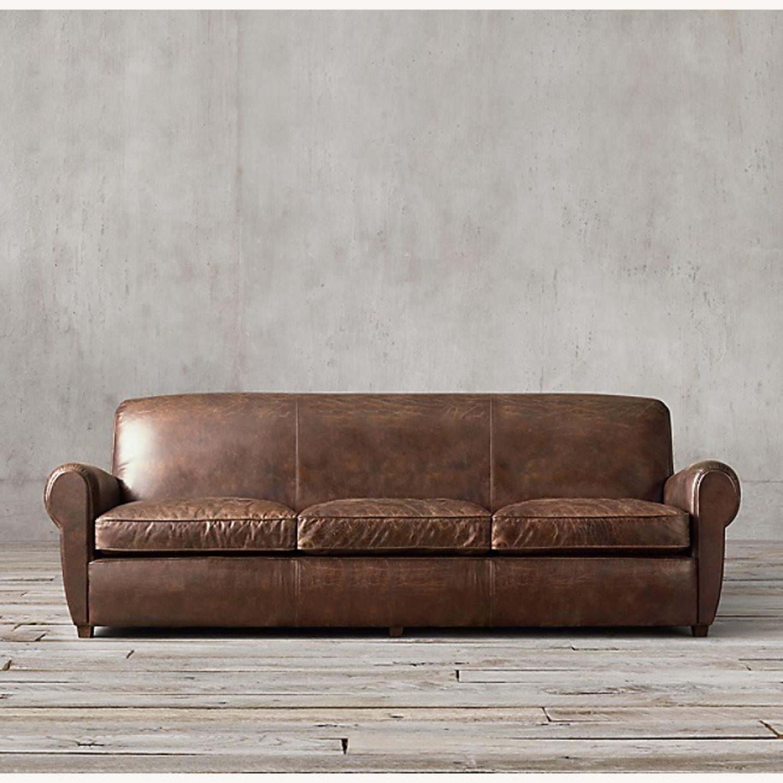 Restoration Hardware 1920S Parisian Leather Sofa - image-1