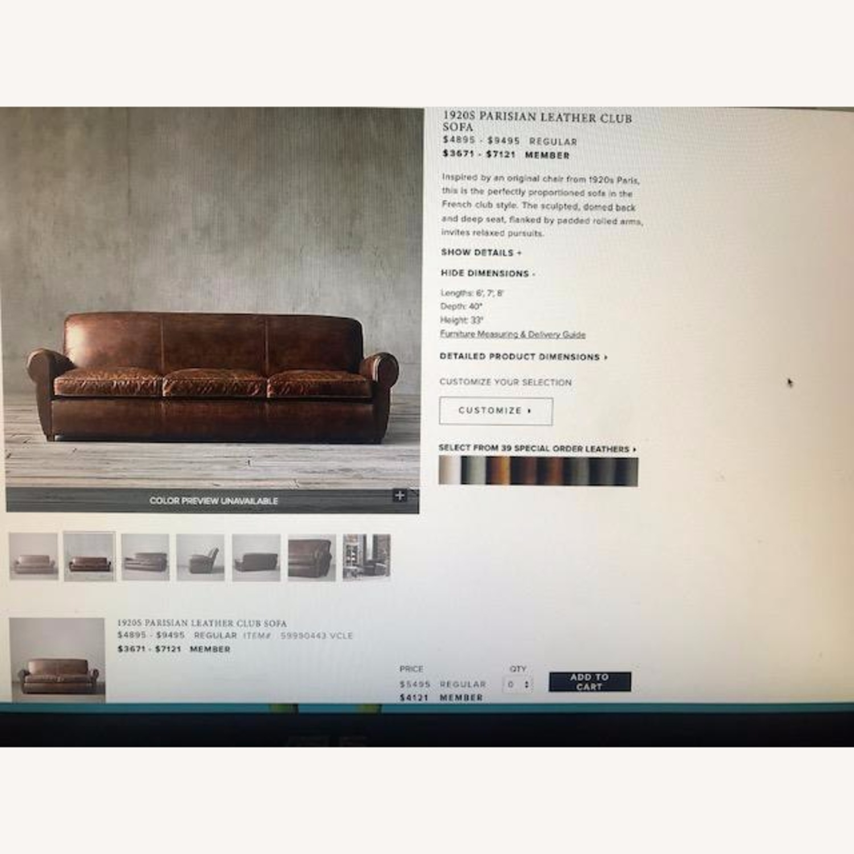 Restoration Hardware 1920S Parisian Leather Sofa - image-6