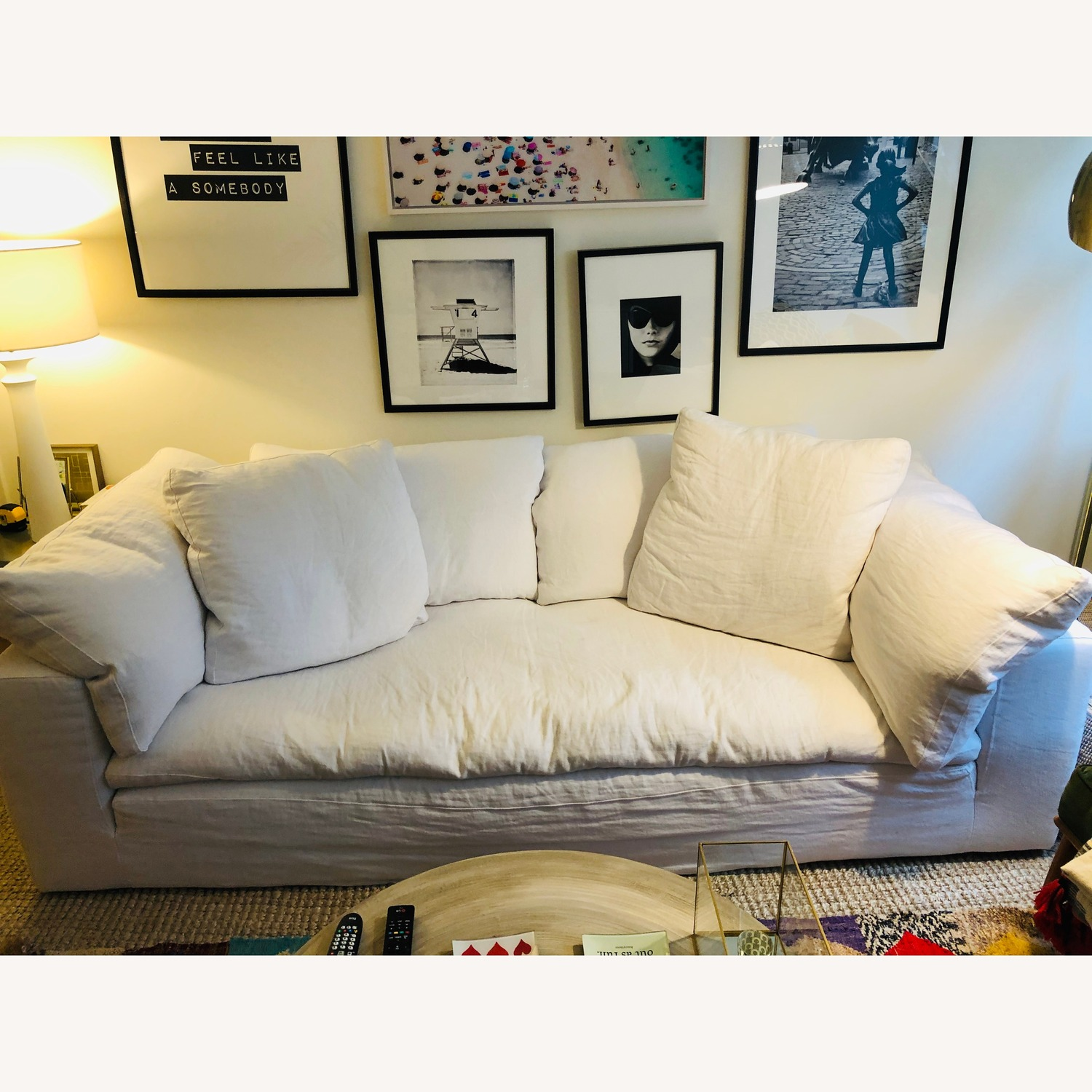 Restoration Hardware White Cloud Couch - image-6