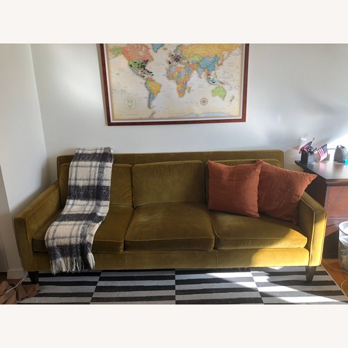 Used Crate & Barrel Green Velvet Couch for sale on AptDeco