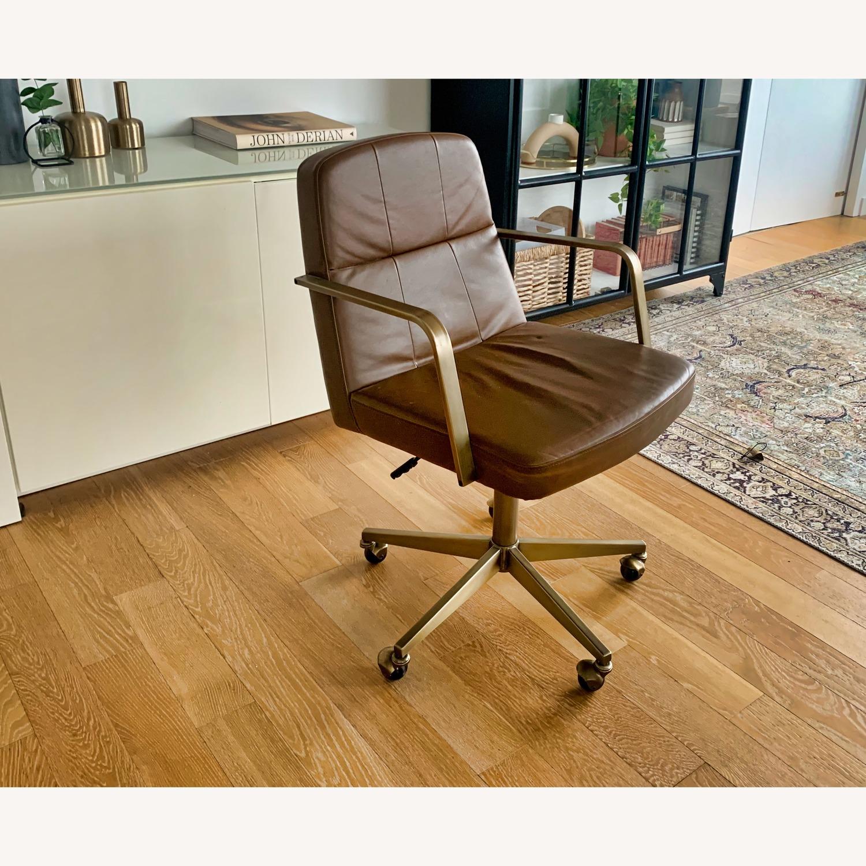 Cb2 Draper Leather Office Chair Aptdeco