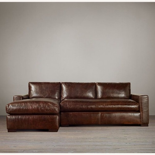 Used Restoration Hardware Distressed Leather Right Arm Sectional for sale on AptDeco