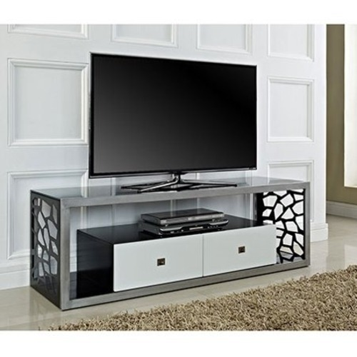 Used Walker Edison Black & White TV Stand with Drawers for sale on AptDeco