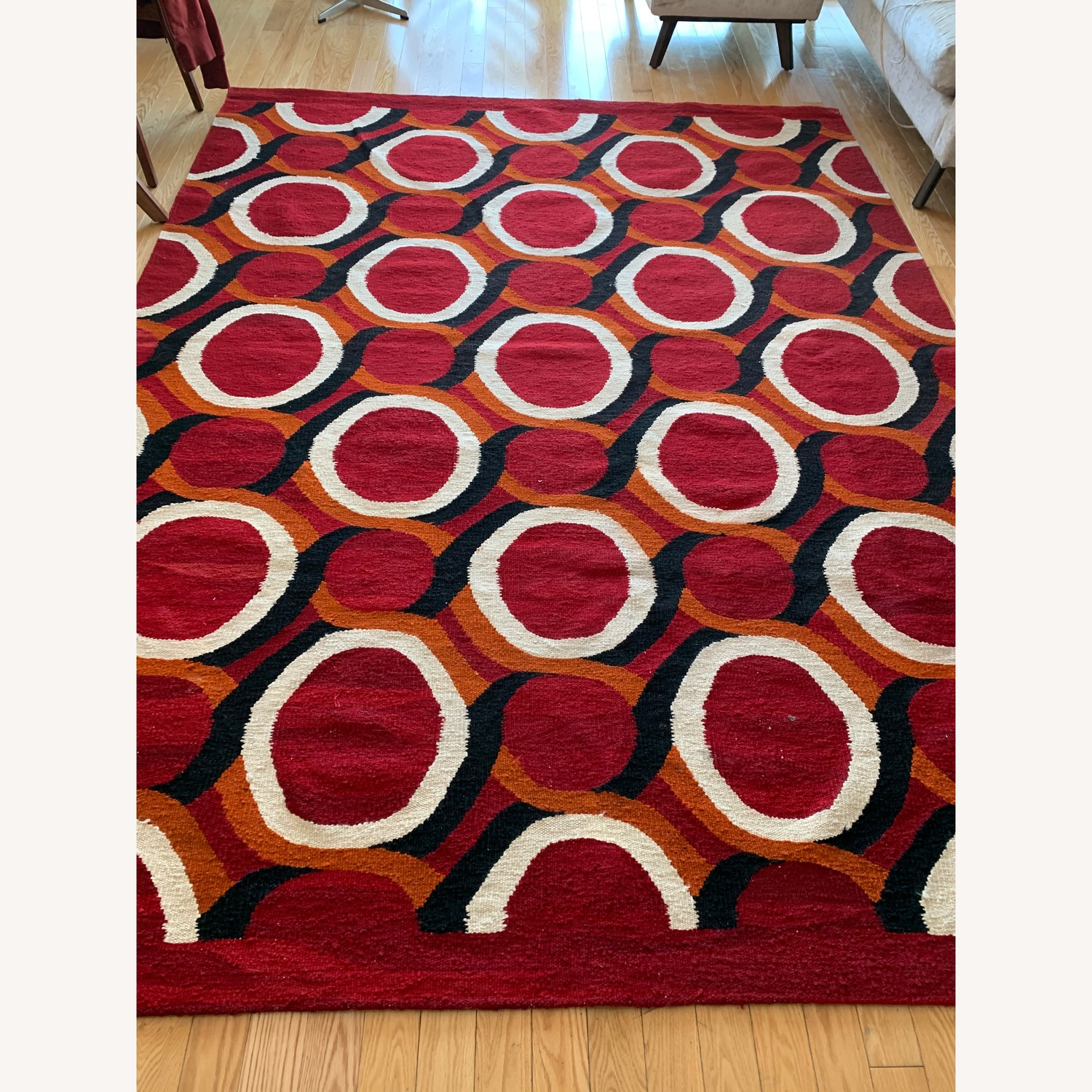 Turkish handwoven red wool rug