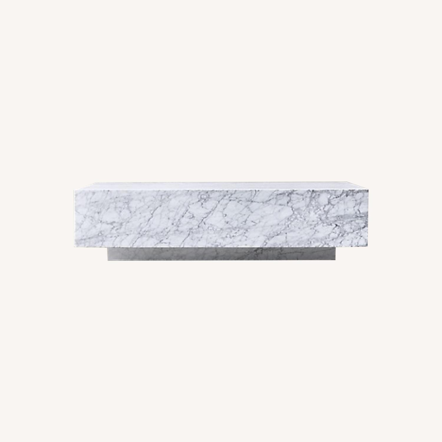 Restoration Hardware Marble Plinth Coffee Table - image-0