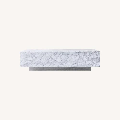 Used Restoration Hardware Marble Plinth Coffee Table for sale on AptDeco