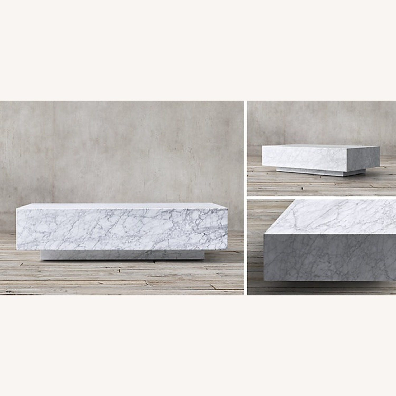 Restoration Hardware Marble Plinth Coffee Table - image-3