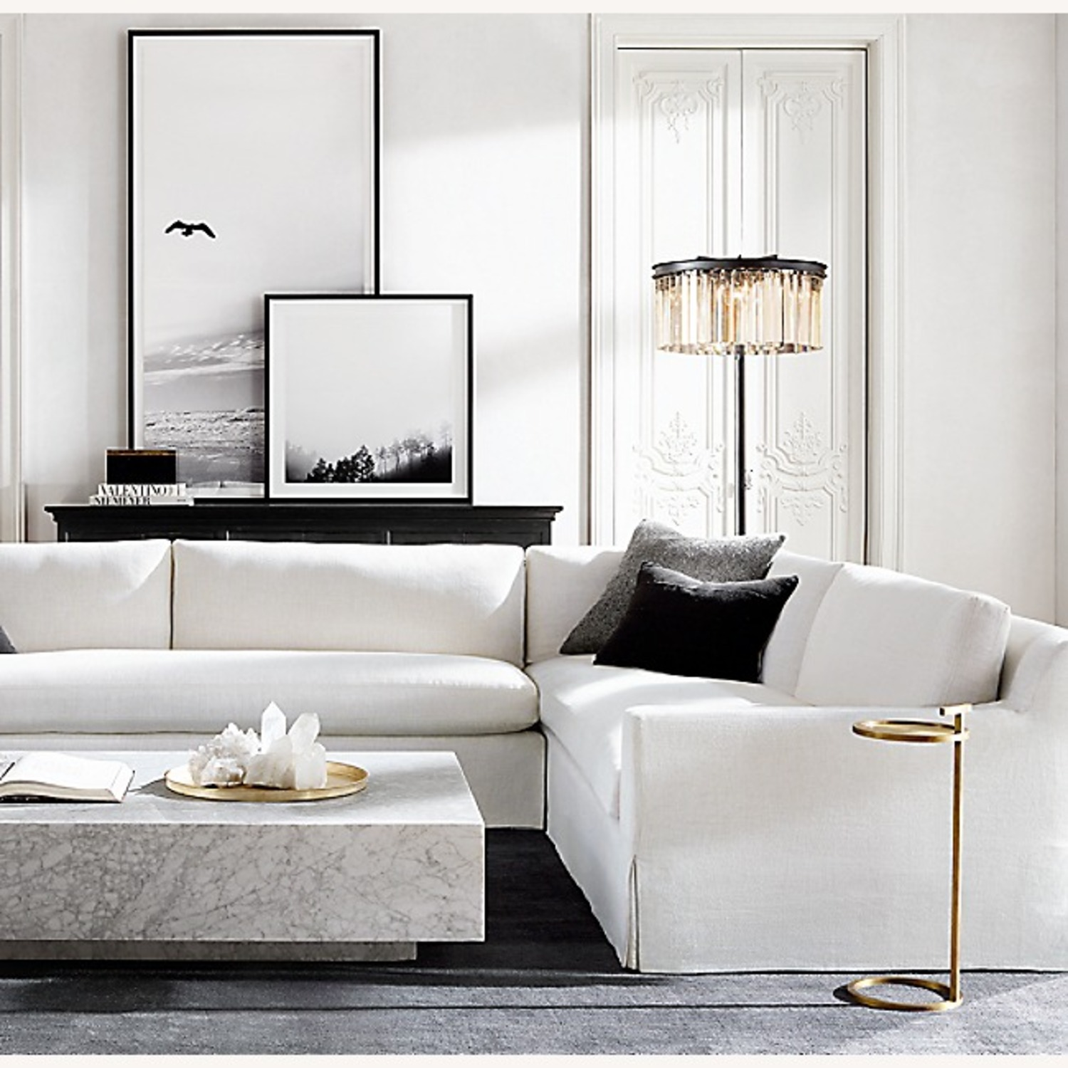 Restoration Hardware Marble Plinth Coffee Table - image-2