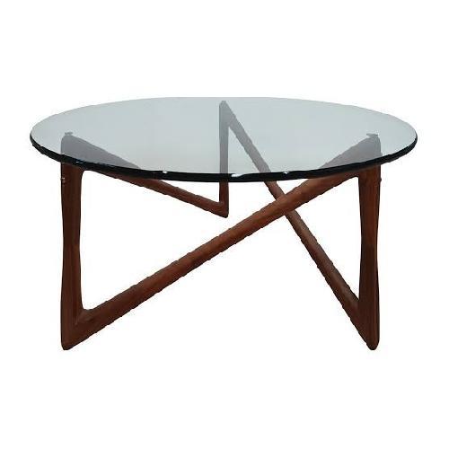 Used Organic Modernism Walnut & Glass Side Table for sale on AptDeco