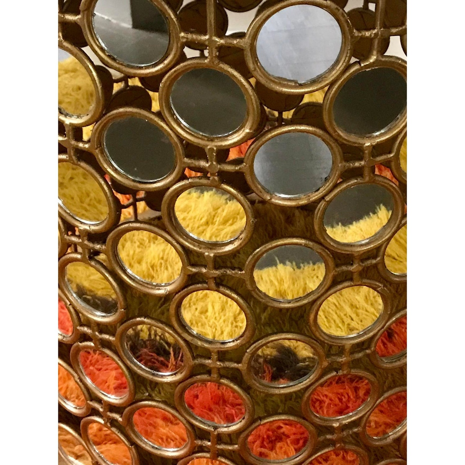 Gilt Drum Coffee Table With Mirrors Italian - image-2