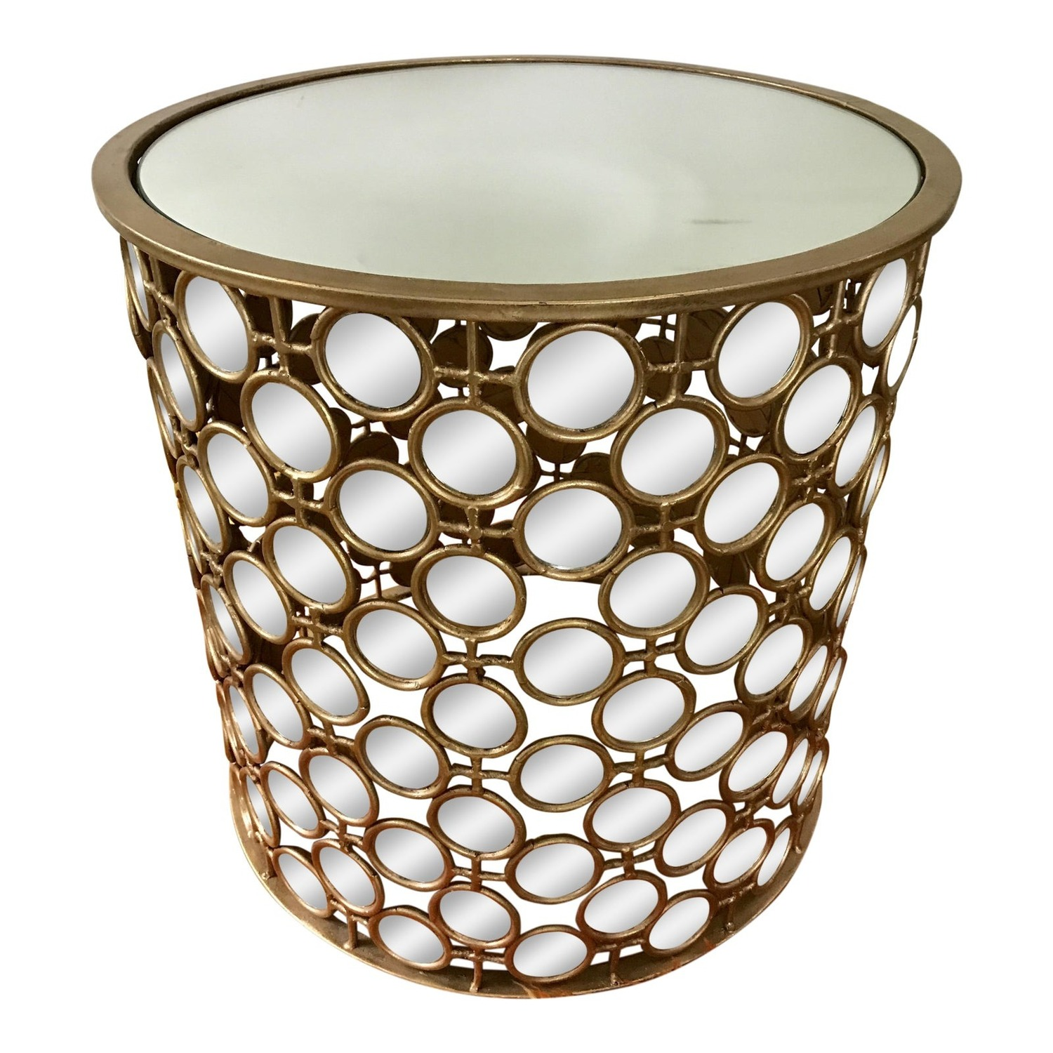 Gilt Drum Coffee Table With Mirrors Italian - image-0