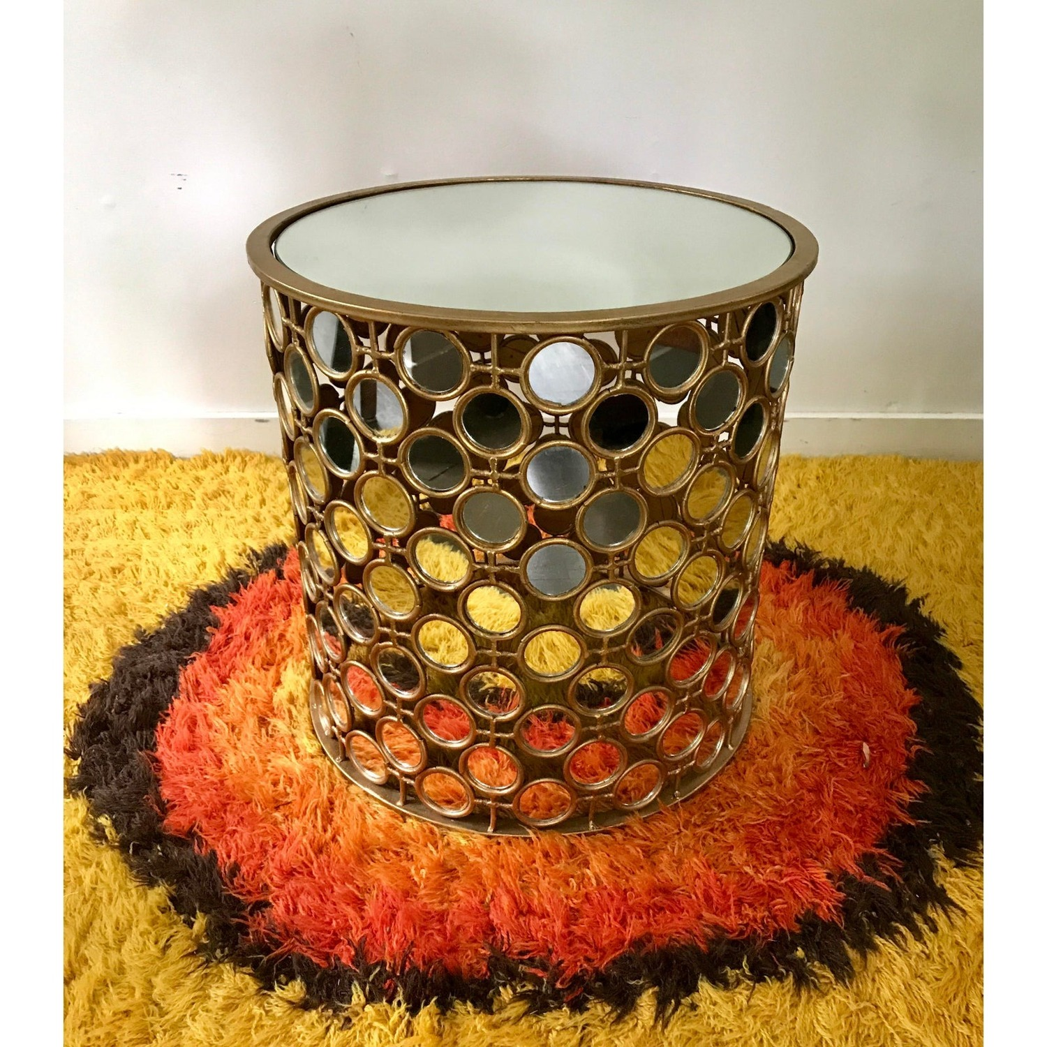 Gilt Drum Coffee Table With Mirrors Italian - image-3