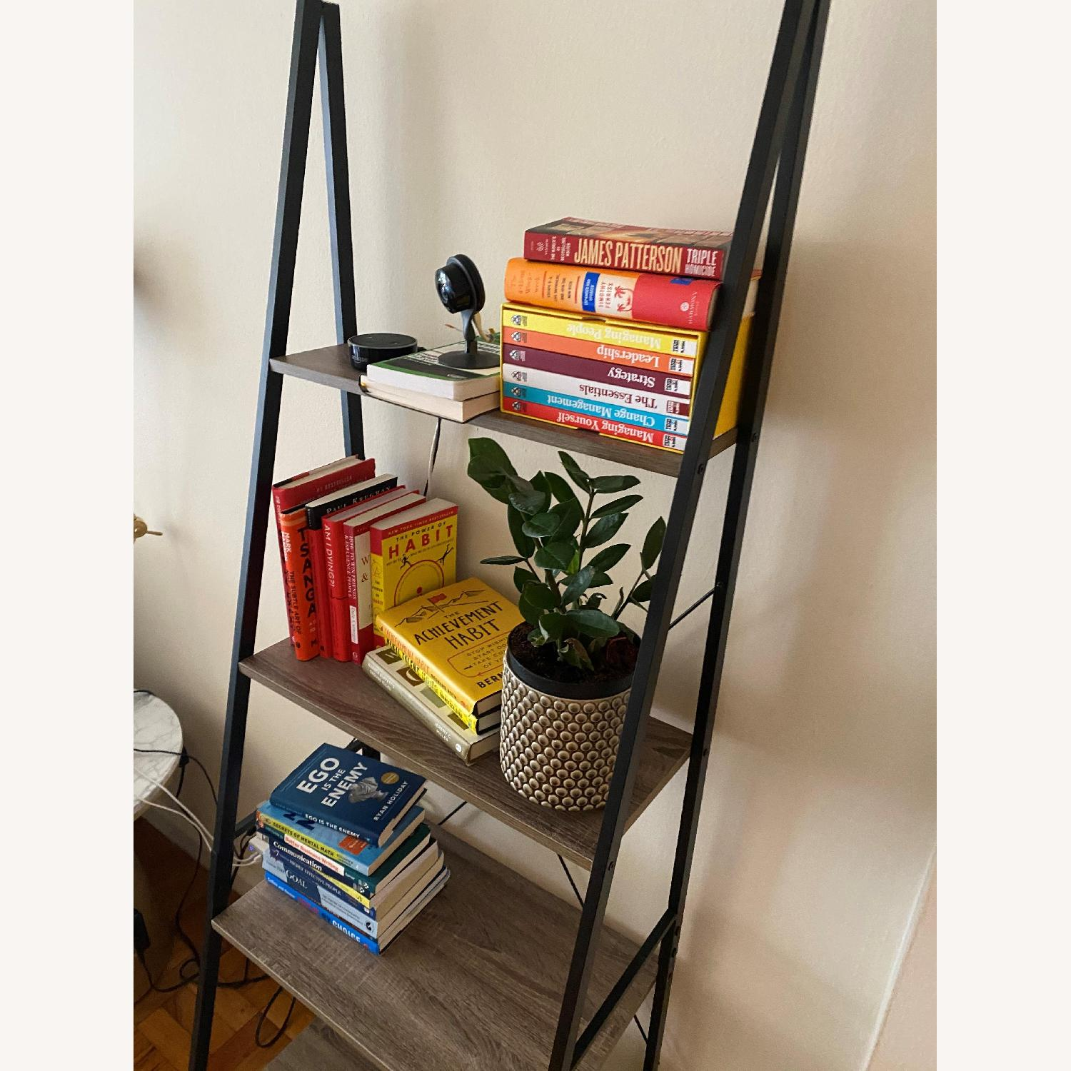 Wayfair Light Grey with Black Iron Book Shelf