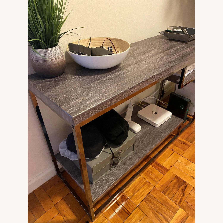 AllModern Light Grey & Metal Entry table