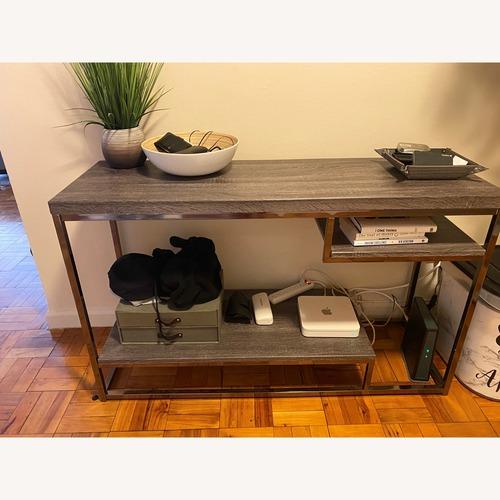 Used AllModern Light Grey & Metal Entry table for sale on AptDeco