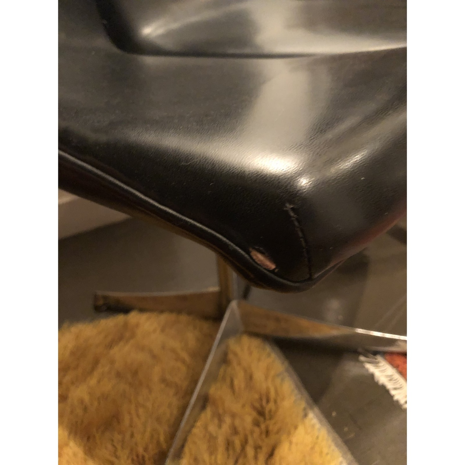 Mid Century Knoll Leather Dining Swivel Chair - image-8