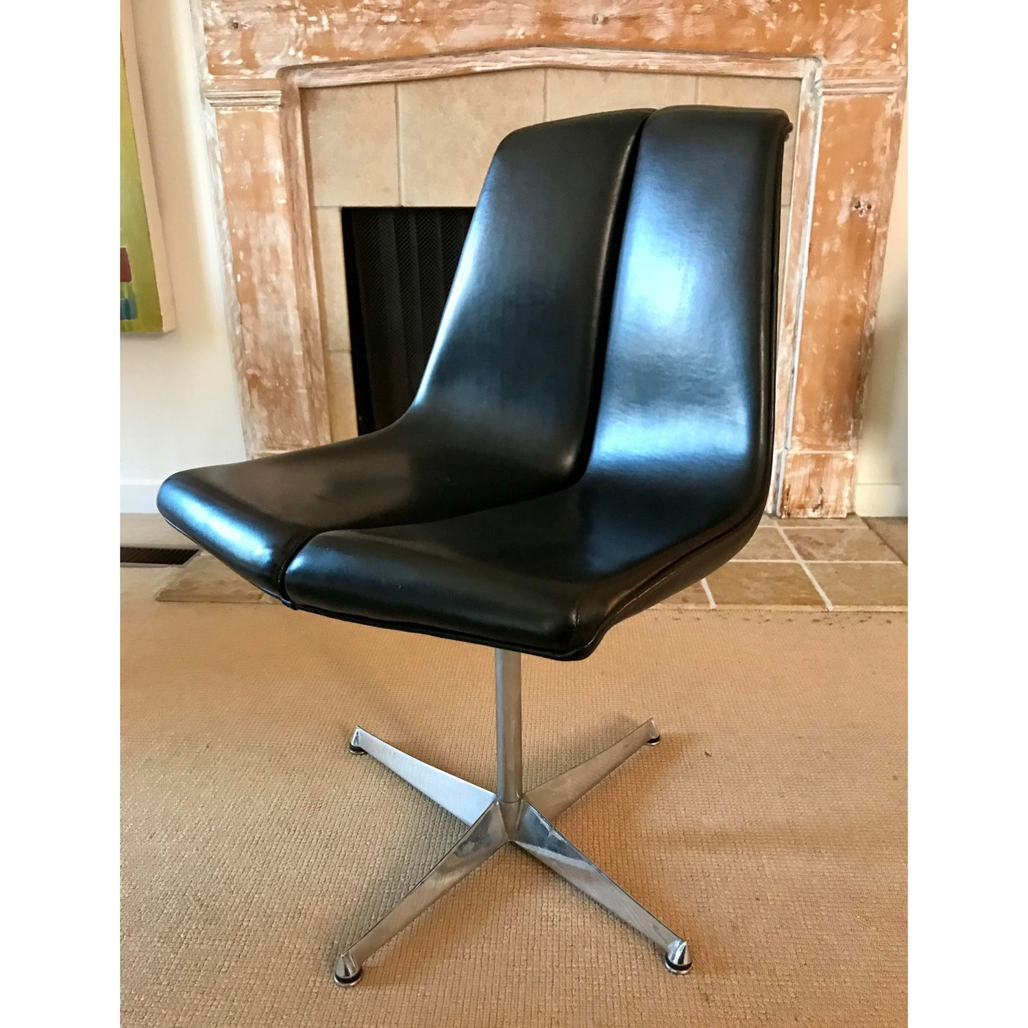 Mid Century Knoll Leather Dining Swivel Chair - image-3