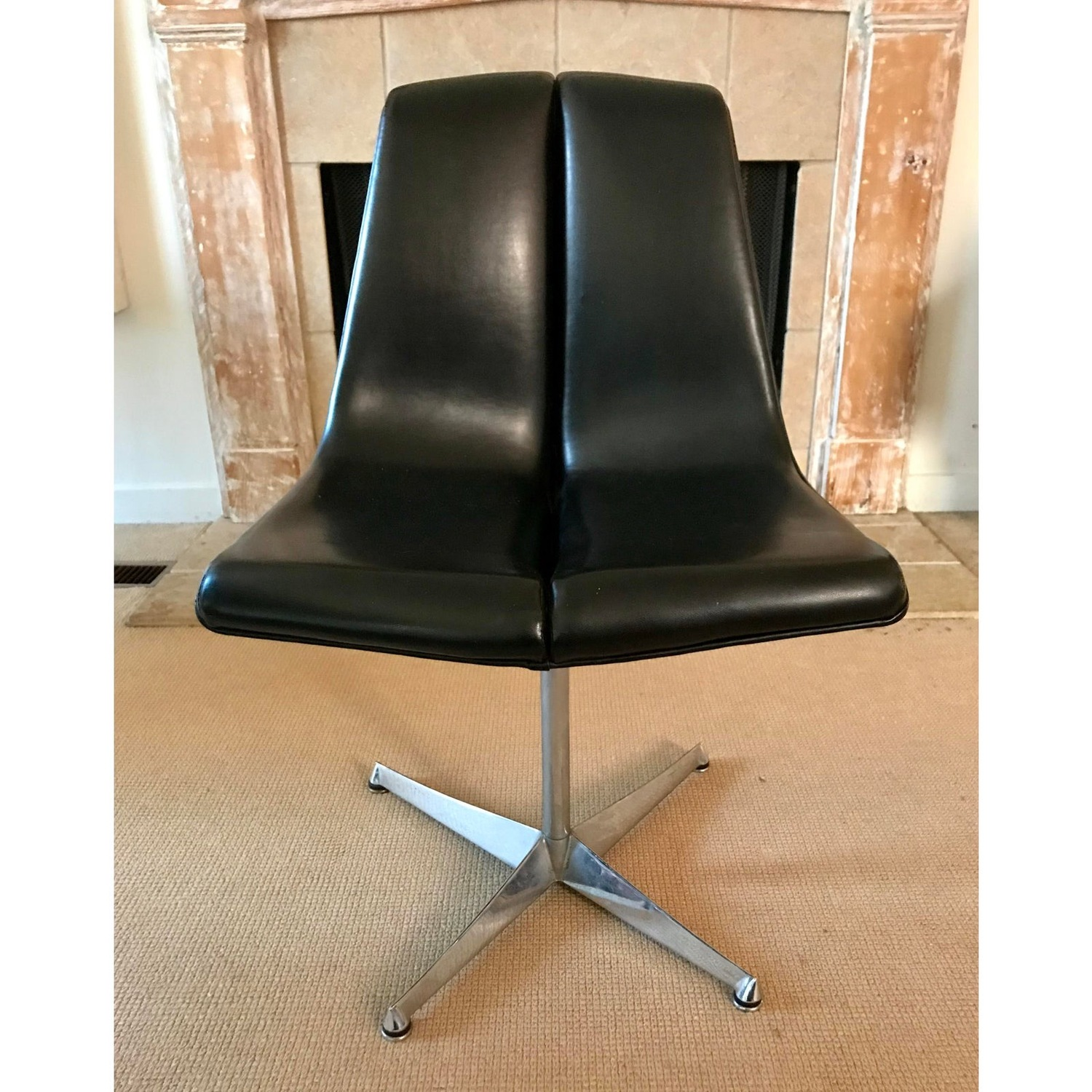 Mid Century Knoll Leather Dining Swivel Chair - image-2
