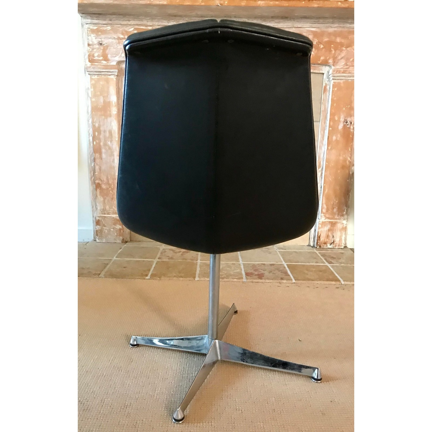 Mid Century Knoll Leather Dining Swivel Chair - image-4
