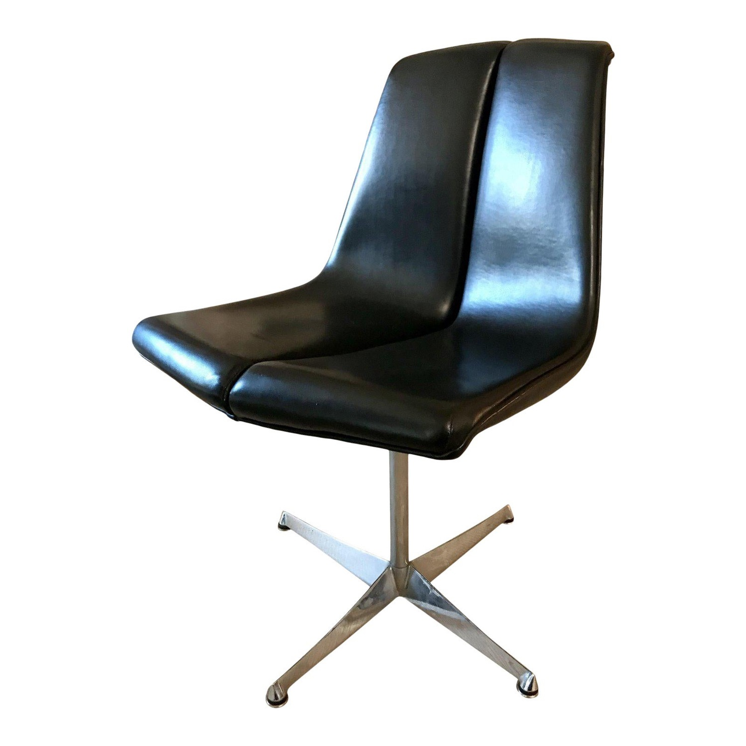 Mid Century Knoll Leather Dining Swivel Chair - image-0