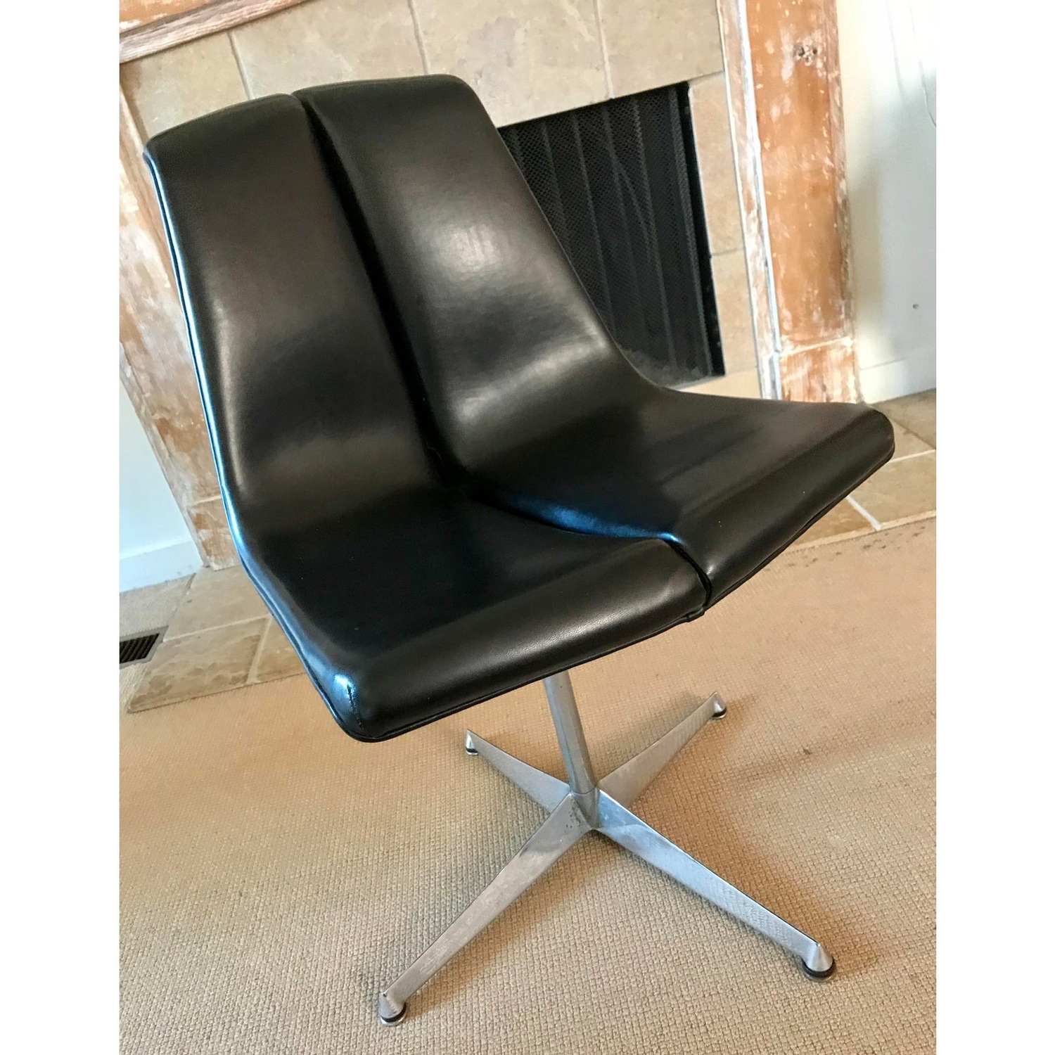 Mid Century Knoll Leather Dining Swivel Chair - image-1