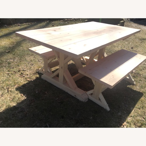 Used Custom Farmhouse Dining Table and Benches for sale on AptDeco